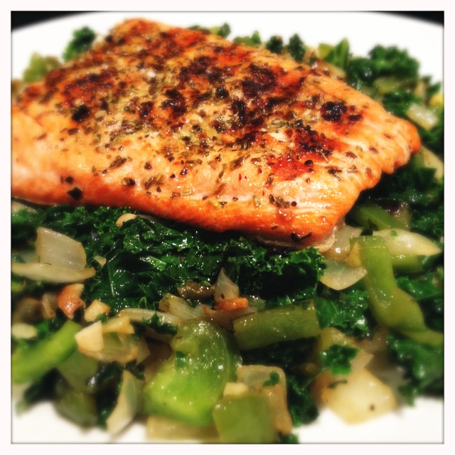 Kale and salmon