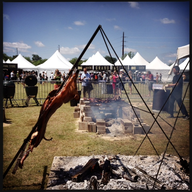 Austin Food and Wine Festival grilled whole pig outdoor fire pit