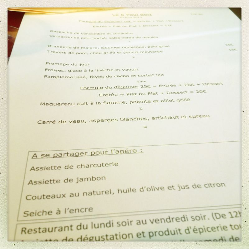 Menu le 6 Paul Bert June Paris dining out etiquette