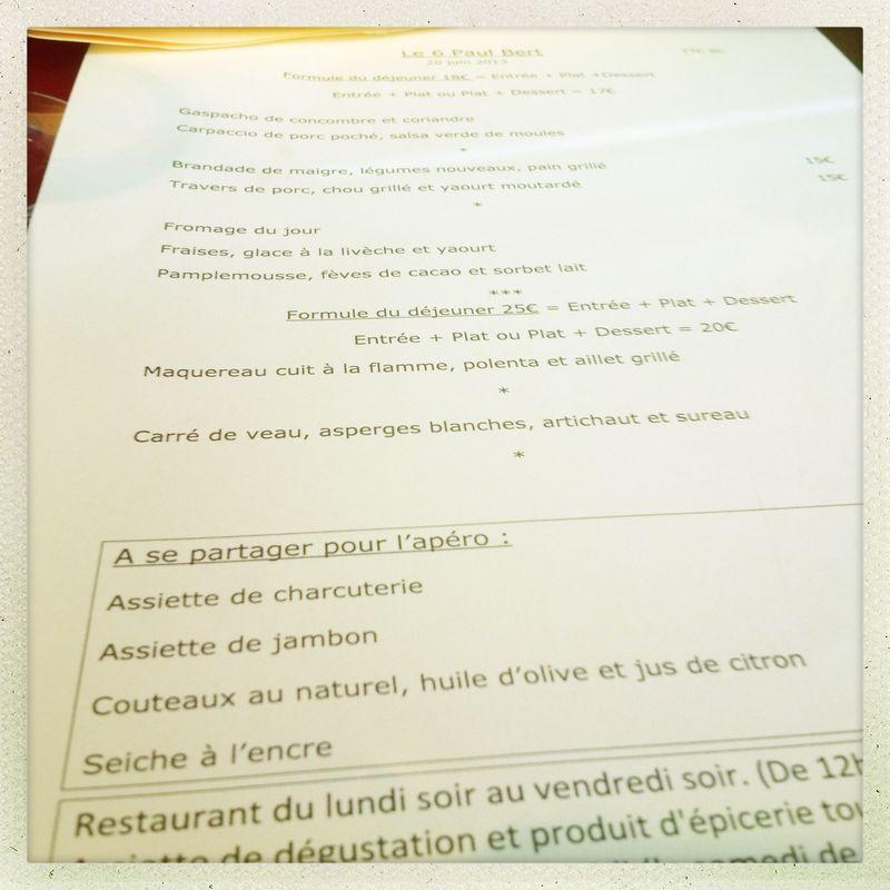 Menu le 6 Paul Bert June Paris dining out etiquette