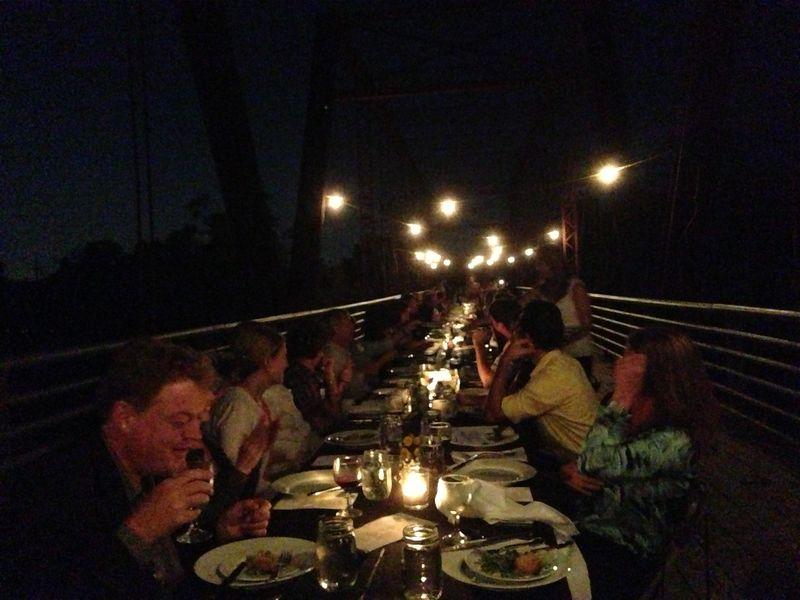 Moore's Crossing Bridge Dinner at night