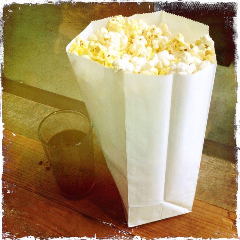 Violet Crown popcorn and wine