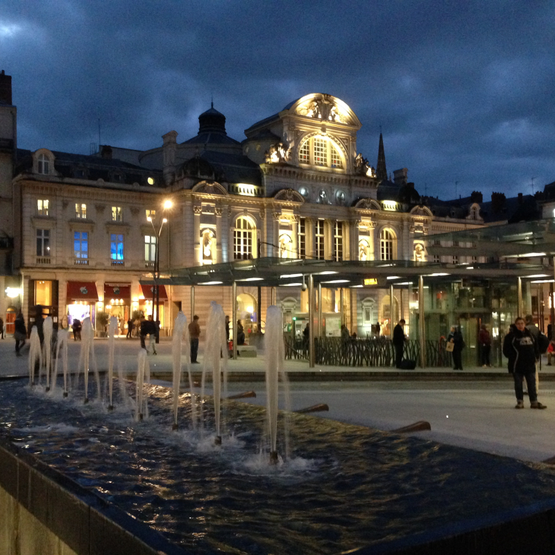 Angers Place du Ralliement at night with fountains